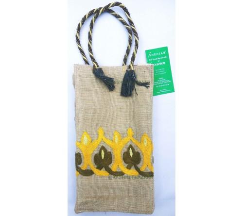 Kashmir Art Embroidered Jute Hand Shopping Bag