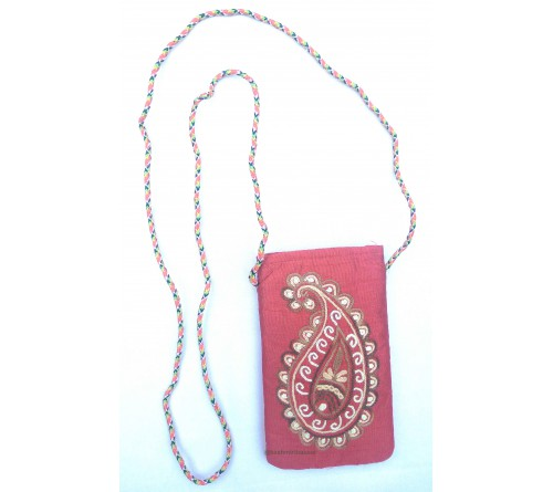 Kashmir Art Embroidered Mobile Pouch Sling